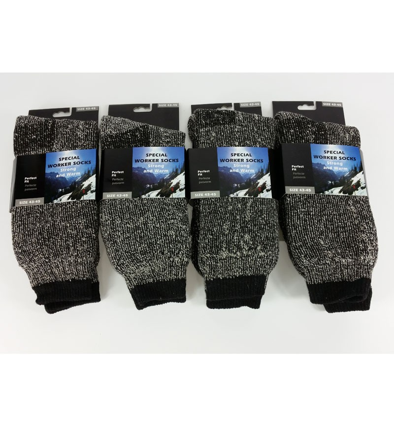 Mens Wool Blend Socks - 4 Pairs